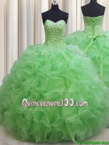Stunning Spring Green Ball Gowns Sweetheart Sleeveless Organza Floor Length Lace Up Beading and Ruffles Quinceanera Gowns