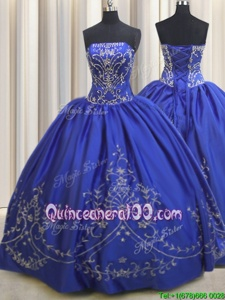 Strapless Sleeveless Sweet 16 Dresses Floor Length Beading and Embroidery Royal Blue Chiffon