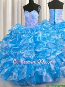 Eye-catching Floor Length Aqua Blue Quinceanera Dress Organza Sleeveless Spring and Summer and Fall and Winter Beading and Ruffles