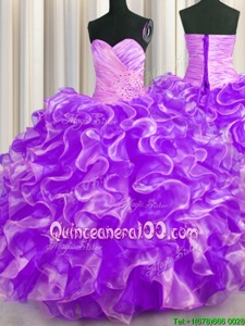 Purple Sweetheart Lace Up Beading and Ruffles Vestidos de Quinceanera Sleeveless