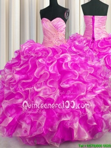 Ideal Rose Pink Sweetheart Neckline Beading and Ruffles Vestidos de Quinceanera Sleeveless Lace Up