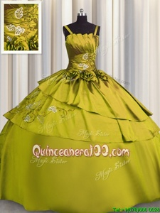 Perfect Yellow Green Satin Lace Up Spaghetti Straps Sleeveless Floor Length Quinceanera Dresses Beading and Embroidery