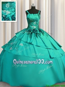 Spaghetti Straps Sleeveless Satin Quince Ball Gowns Beading and Embroidery Lace Up
