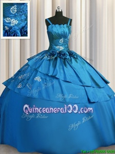 Stunning Floor Length Lace Up Sweet 16 Dress Teal and In forMilitary Ball and Sweet 16 and Quinceanera withBeading and Embroidery