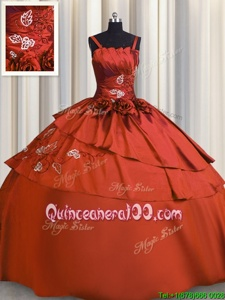 Edgy Embroidery Floor Length Ball Gowns Sleeveless Rust Red Quinceanera Dresses Lace Up