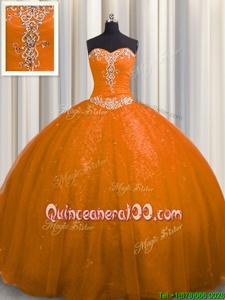 Latest Spring and Summer and Fall and Winter Tulle and Sequined Sleeveless With Train Quinceanera Dress Court Train andBeading and Appliques