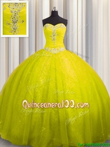 Gorgeous Yellow Green Sweet 16 Dresses Tulle and Sequined Court Train Sleeveless Spring and Summer and Fall and Winter Beading and Appliques
