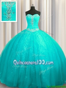 Custom Fit Sequined Sleeveless Beading and Appliques Lace Up Quinceanera Dresses with Aqua Blue Court Train