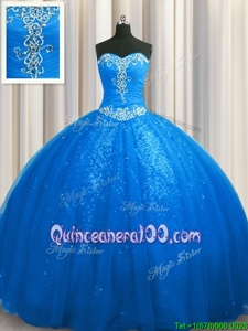 Custom Design Sequined Blue Sleeveless Court Train Beading and Appliques With Train Sweet 16 Dresses