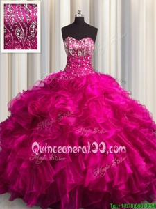 Captivating Sleeveless Brush Train Beading and Ruffles Lace Up Sweet 16 Quinceanera Dress
