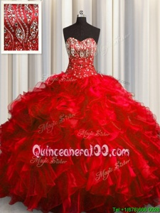 Vintage Red Lace Up Sweetheart Beading and Ruffles Quinceanera Gown Organza Sleeveless Brush Train