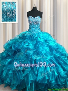 Top Selling Beading and Ruffles Quinceanera Gown Teal Lace Up Sleeveless With Brush Train