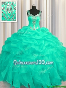 Most Popular See Through Zipper Up Sleeveless Organza Floor Length Zipper 15 Quinceanera Dress inTurquoise forSpring and Summer and Fall and Winter withAppliques and Ruffles