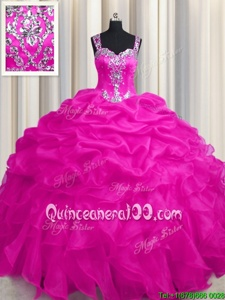 Exceptional See Through Zipper Up Hot Pink Zipper Sweet 16 Dress Appliques and Ruffles and Ruffled Layers Sleeveless Floor Length