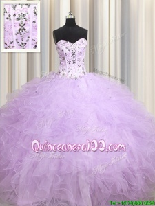 Romantic Visible Boning Sleeveless Beading and Appliques and Ruffles Lace Up Vestidos de Quinceanera