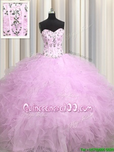 Delicate Visible Boning Lilac Lace Up 15th Birthday Dress Beading and Appliques and Ruffles Sleeveless Floor Length