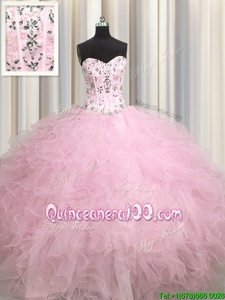 Visible Boning Sweetheart Sleeveless Lace Up Quinceanera Gown Baby Pink Tulle