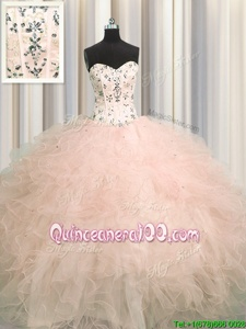 Clearance Visible Boning Floor Length Ball Gowns Sleeveless Pink Quinceanera Gowns Lace Up