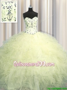 Deluxe Visible Boning Floor Length Light Yellow Quinceanera Gowns Sweetheart Sleeveless Lace Up