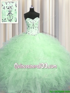 Visible Boning Apple Green Sweetheart Lace Up Beading and Appliques and Ruffles Sweet 16 Dresses Sleeveless