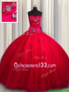 Sleeveless Tulle and Sequined Floor Length Lace Up Quince Ball Gowns inRed forSpring and Summer and Fall and Winter withBeading and Appliques