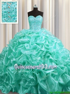 Aqua Blue Lace Up Sweetheart Beading and Pick Ups Sweet 16 Quinceanera Dress Organza Sleeveless Court Train