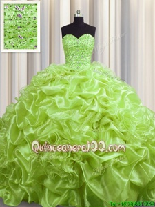 High End Beading and Pick Ups Sweet 16 Quinceanera Dress Yellow Green Lace Up Sleeveless With Train Court Train