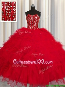 Trendy Visible Boning Sleeveless Lace Up Floor Length Beading and Ruffles and Sequins Quinceanera Gown