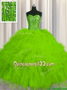 Deluxe Visible Boning Yellow Green Tulle Lace Up Quinceanera Dress Sleeveless Floor Length Beading and Ruffles and Sequins