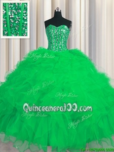 Lovely Visible Boning Green Sleeveless Beading and Ruffles and Sequins Floor Length Ball Gown Prom Dress