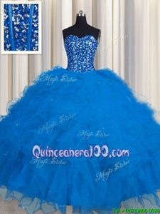 Best Visible Boning Floor Length Lace Up 15th Birthday Dress Blue and In forMilitary Ball and Sweet 16 and Quinceanera withBeading and Ruffles and Sequins