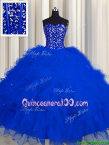 Ideal Visible Boning Royal Blue Sleeveless Beading and Ruffles and Sequins Floor Length 15 Quinceanera Dress