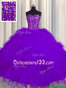Beautiful Visible Boning Sweetheart Sleeveless Lace Up 15 Quinceanera Dress Purple Tulle