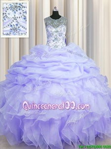 Edgy See Through Scoop Lavender Sleeveless Beading and Ruffles and Pick Ups Floor Length Quinceanera Gown