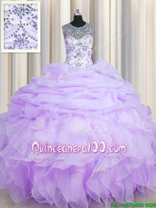 Modest See Through Floor Length Lavender Sweet 16 Quinceanera Dress Scoop Sleeveless Lace Up