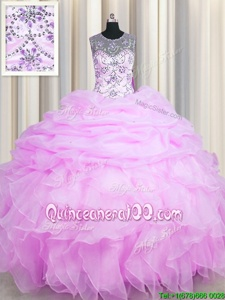 Dramatic See Through Lilac Organza Lace Up Scoop Sleeveless Floor Length Sweet 16 Quinceanera Dress Beading and Ruffles and Pick Ups