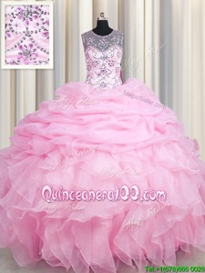 Gorgeous See Through Pick Ups Ball Gowns Ball Gown Prom Dress Rose Pink Scoop Organza Sleeveless Floor Length Lace Up