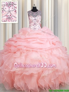 Super See Through Baby Pink Ball Gowns Organza Scoop Sleeveless Beading and Ruffles and Pick Ups Floor Length Lace Up Quinceanera Gown
