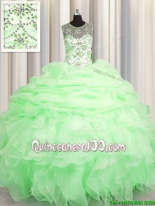 Best Selling Scoop See Through Spring Green Sleeveless Floor Length Beading and Ruffles and Pick Ups Lace Up Quinceanera Gown