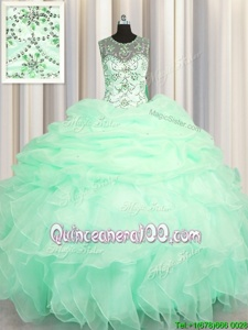 Luxurious Scoop Pick Ups See Through Apple Green Sleeveless Organza Lace Up Quinceanera Dress forMilitary Ball and Sweet 16 and Quinceanera