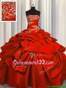 Top Selling Pick Ups Floor Length Ball Gowns Sleeveless Red Quince Ball Gowns Lace Up