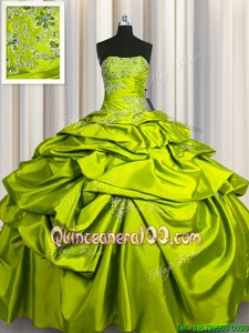 Customized Sleeveless Floor Length Beading and Pick Ups Lace Up 15th Birthday Dress with Yellow Green