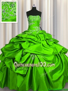 Glorious Spring Green Sleeveless Floor Length Beading and Pick Ups Lace Up Quinceanera Gown