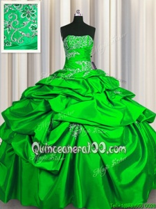 Lovely Pick Ups Green Sleeveless Taffeta Lace Up Quince Ball Gowns forMilitary Ball and Sweet 16 and Quinceanera