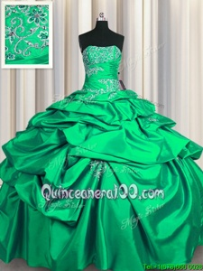 Modern Floor Length Lace Up Sweet 16 Quinceanera Dress Turquoise and In forMilitary Ball and Sweet 16 and Quinceanera withAppliques and Pick Ups