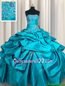 Edgy Aqua Blue Strapless Neckline Appliques and Pick Ups Quinceanera Gown Sleeveless Lace Up