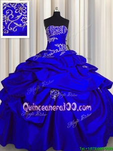 Extravagant Royal Blue Quinceanera Dresses Military Ball and Sweet 16 and Quinceanera and For withAppliques and Pick Ups Strapless Sleeveless Lace Up