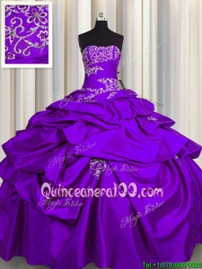 Romantic Strapless Sleeveless 15th Birthday Dress Floor Length Appliques and Pick Ups Purple Taffeta