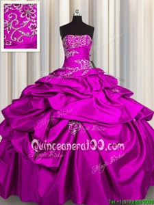 Adorable Strapless Sleeveless Taffeta Sweet 16 Dresses Appliques and Pick Ups Lace Up