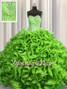 276278d64ed  353.06  193.05  Comfortable Visible Boning Spring Green Ball Gowns Beading  and Ruffles Vestidos de Quinceanera Lace Up Organza